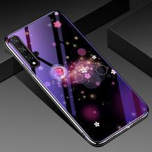 Луксозен стъклен твърд гръб със силиконов кант за Huawei Nova 5T / Honor 20 - цветя и кръгове