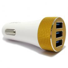 Оригинален USB кабел LDNIO C50 Car Charger 12V / 3 USB порта и Micro USB кабел 5.1A за Apple iPhone 5 / iPhone 5S / iPhone SE / iPhone 6 / iPhone 6 Plus - бяло / червено