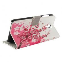 Кожен калъф Flip тефтер със стойка за HTC Desire 620 – Peach Blossom
