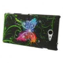 Твърд гръб за Sony Xperia M2 / Xperia M2 Aqua - черен с цветна пеперуда