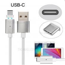 Магнитен USB кабел / USB Type-C Magnetic Charging Data Cable за Samsung Galaxy J6 2018 - сребрист / бял