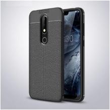 Луксозен силиконов калъф / гръб / TPU за Nokia 4.2 - черен / имитиращ кожа