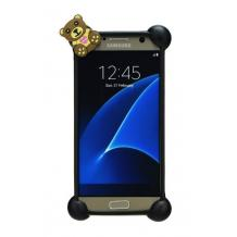 Универсален силиконов 3D Бъмпер / Bumper / Bear Love за Apple, Samsung, HTC, LG, Nokia, Sony, Huawei, Lenovo, ZTE, Motorola и др. - черен / мече с жълто