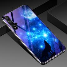 Луксозен стъклен твърд гръб със силиконов кант за Huawei Nova 5T / Honor 20 - синьо съзвездие