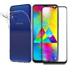 Силиконов калъф / гръб / TPU с черен стъклен протектор Full Glue за Huawei P30 Lite - прозрачен