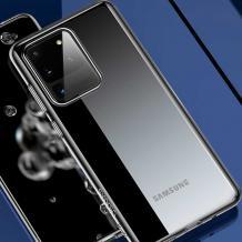 Луксозен гръб USAMS Janz Series за Samsung Galaxy S20 - прозрачен / черен кант