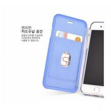 Луксозен кожен калъф Flip тефтер със стойка OPEN за Apple iPhone X / iPhone XS - бял / гланц
