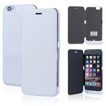 Кожен Flip тефтер / външна батерия / Power Bank за Apple iPhone 6 Plus 5.5'' - бял / 3800mAh