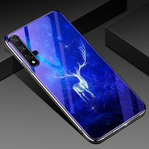 Луксозен стъклен твърд гръб със силиконов кант за Huawei Nova 5T / Honor 20 - бял елен