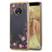 Луксозен силиконов калъф / гръб / TPU с камъни за Motorola Moto G5S - прозрачен / розови цветя /златист кант