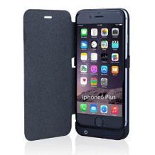 Кожен Flip тефтер / външна батерия / Power Bank за Apple iPhone 6 Plus 5.5'' - черен / 3800mAh