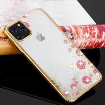 """Луксозен силиконов калъф / гръб / TPU с камъни за Apple iPhone 11 Pro 5.8"""" - прозрачен / розови цветя / златист кант"""