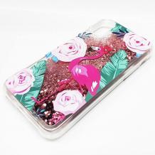 Луксозен твърд гръб 3D Water Case за Apple iPhone XS Max - прозрачен / розов брокат / фламинго