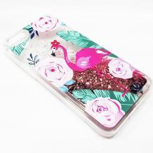 Луксозен твърд гръб 3D Water Case за Apple iPhone 6 / iPhone 6S - прозрачен / розов брокат / фламинго