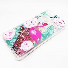 Луксозен твърд гръб 3D Water Case за Apple iPhone 5 / iPhone 5S / iPhone SE - прозрачен / розов брокат / фламинго