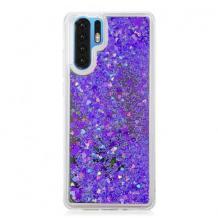 Луксозен твърд гръб 3D Water Case за Samsung Galaxy Note 10 N975 - прозрачен / течен гръб с лилав брокат
