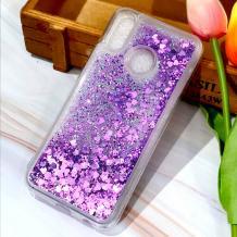 Луксозен твърд гръб 3D Water Case за Motorola One Macro - прозрачен / течен гръб с брокат / сърца / лилав