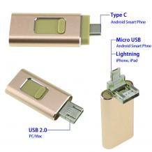 USB Flash памет 4in1 OTG / Type C / Micro USB / iPhone / Android - 128GB / Gold
