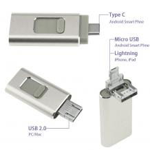 USB Flash памет 4in1 OTG / Type C / Micro USB / iPhone / Android - 128GB / Silver