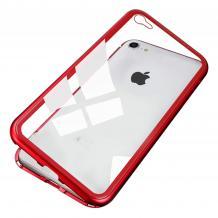 Магнитен калъф Bumper Case 360° FULL за Apple iPhone 6 Plus / iPhone 6S Plus - прозрачен / червена рамка