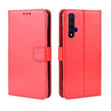 Кожен калъф Flip тефтер Flexi със стойка за Huawei Nova 5T / Honor 20 - червен