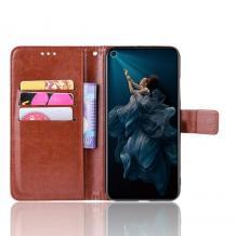 Кожен калъф Flip тефтер Flexi със стойка за Huawei Nova 5T / Honor 20 - кафяв