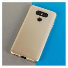 Силиконов калъф / гръб / TPU за LG K50S - златист / мат