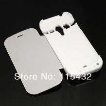 Кожен Flip тефтер със стойка / външна батерия / Power Bank за Samsung Galaxy S3 Mini I8190 / Samsung SIII Mini I8190 - 2000 mAh / бял