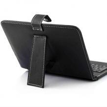 """Универсален кoжен калъф за таблет 7"""" със стойка + клавиатура с Micro USB кабел - черен"""