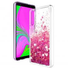 Луксозен твърд гръб 3D Water Case за Huawei Nova 5T / Honor 20 - прозрачен / течен гръб с брокат / сърца / розов