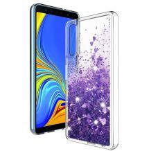 Луксозен твърд гръб 3D Water Case за Huawei Nova 5T / Honor 20 - прозрачен / течен гръб с брокат / сърца / лилав