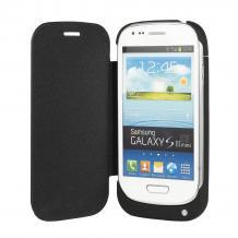 Кожен Flip тефтер със стойка / външна батерия / Power Bank за Samsung Galaxy S3 Mini I8190 / Samsung SIII Mini I8190 - 2000 mAh / черен
