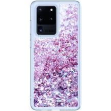 Луксозен твърд гръб 3D Water Case за Samsung Galaxy S20 Ultra - прозрачен / течен гръб с брокат / лилав