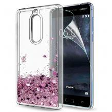 Луксозен твърд гръб 3D Water Case за Nokia 5.1 2018 - прозрачен / течен гръб с розов брокат
