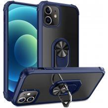 """Удароустойчив гръб със стойка и магнитно захващане за Apple iPhone 12 mini 5.4"""" – прозрачен / син кант"""