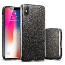 Силиконов калъф / гръб / TPU за Apple iPhone X / iPhone XS - черен / брокат