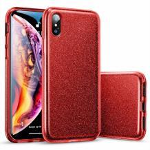 Силиконов калъф / гръб / TPU за Apple iPhone X / iPhone XS - червен / брокат
