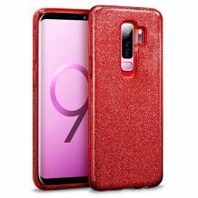 Силиконов калъф / гръб / TPU за Samsung Galaxy S9 Plus G965 - червен / брокат