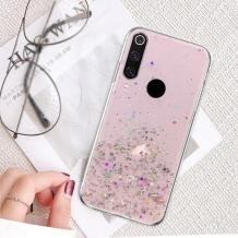 Силиконов калъф / гръб / TPU за Samsung Galaxy A20s - брокат / розов