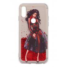 Луксозен твърд гръб 3D Water Case за Huawei Y6p - течен гръб с червен брокат / Fashion Girl
