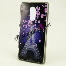 Силиконов калъф / гръб / TPU за A1 Smart N9 - Айфелова кула / лилави цветя