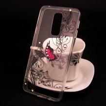 Луксозен силиконов калъф / гръб / TPU за Xioami Redmi 8 - прозрачен / розова пеперуда