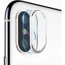 Стъклен протектор TOTU Design с рамка / 9H Magic Glass Real Tempered Glass Camera Lens TOTU Design / за камера на Apple iPhone X / iPhone XS - прозрачен / сребриста рамка