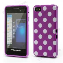 Силиконов калъф / гръб / ТПУ за BlackBerry Z10 - лилав на бели точки