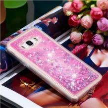 Луксозен твърд гръб 3D Water Case за Samsung Galaxy J5 2016 J510 - прозрачен / течен гръб с розов брокат / сърца