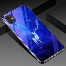 Луксозен стъклен твърд гръб със силиконов кант за Apple iPhone 11 Pro 5.8 - бял елен