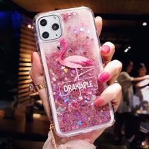 """Луксозен твърд гръб 3D Water Case за Apple iPhone 11 Pro 5.8"""" - течен гръб с розов брокат / Drakaple"""