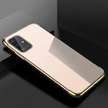 Луксозен силиконов калъф / гръб / TPU за Samsung Galaxy A41 - прозрачен / златист кант