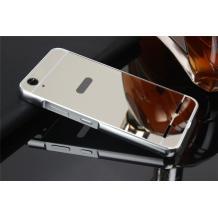 Луксозен алуминиев бъмпер с твърд гръб за Lenovo Vibe K5 / Vibe K5 Plus / A6020 - сребрист / огледален
