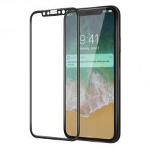 3D full cover Tempered Glass Screen Protector Baseus Apple iPhone X / Извит стъклен скрийн протектор Baseus за Apple iPhone X - черен